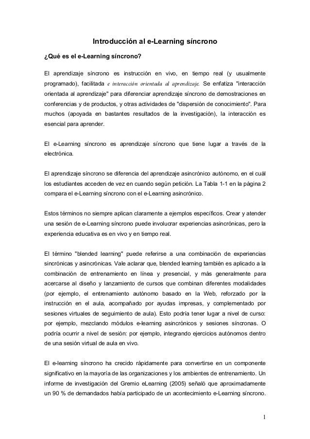 Traduccion de Synchronous e-Learning, The elearning GUILD