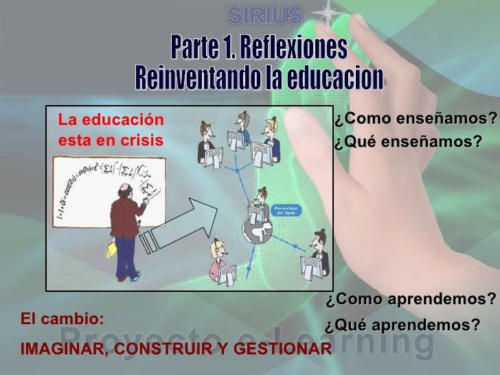 Parte 1. Reflexiones Reinventando la educacion La educación esta en crisis ¿Como enseñamos? ¿Qué enseñamos? ¿Como aprendem...