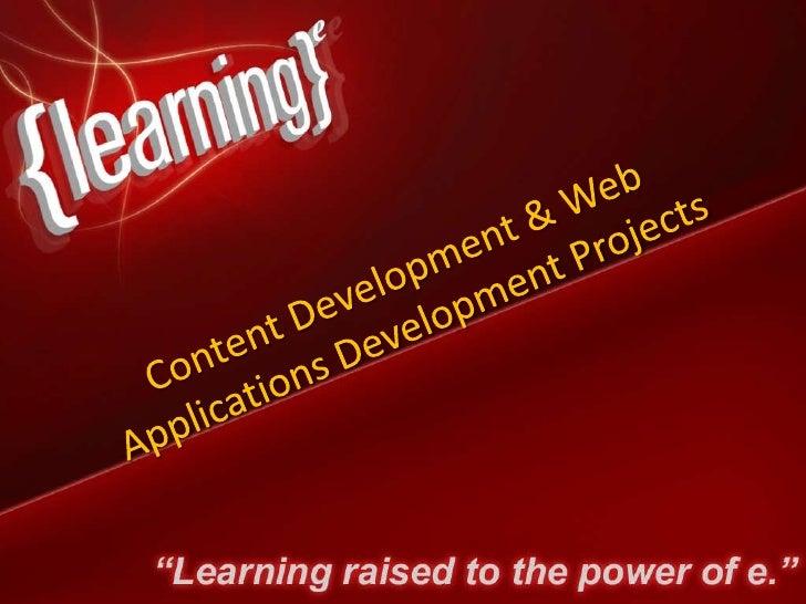 E Learning Development Projects