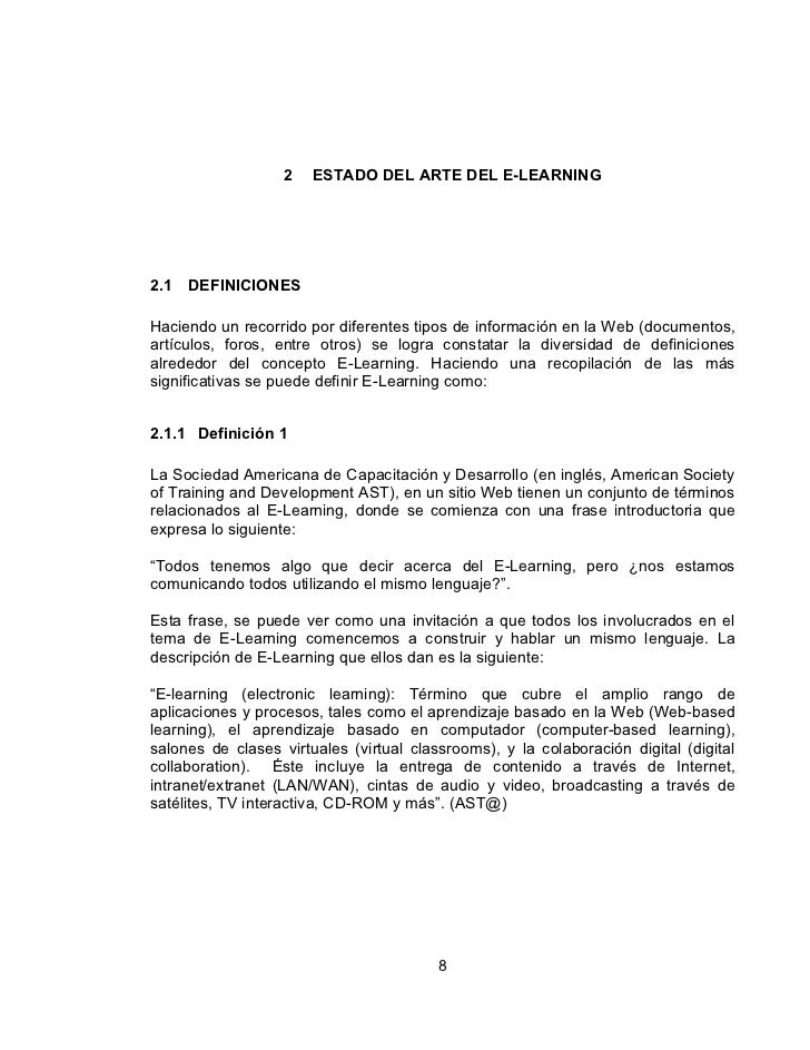 2   ESTADO DEL ARTE DEL E-LEARNING2.1   DEFINICIONESHaciendo un recorrido por diferentes tipos de información en la Web (d...
