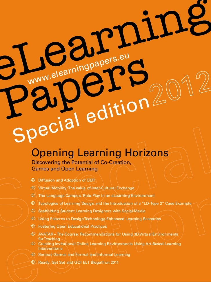Opening Learning Horizons: eLearning Papers Special Edition 2012