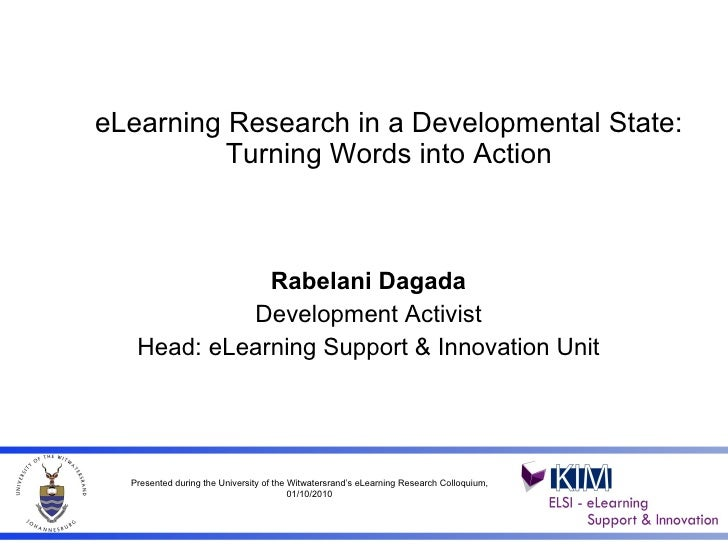 E learning research turning words into action