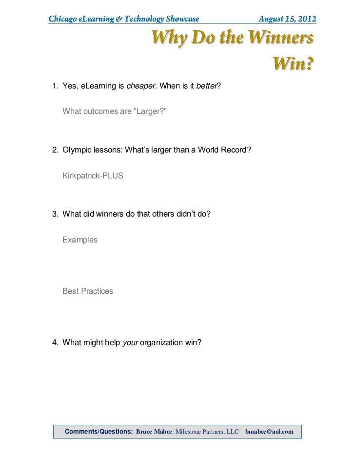 CETS 2012, Bruce Mabee, handout for Why Do the Winners Win? How Are Award Winners Using eLearning & Technology to Create Larger Learning Results?