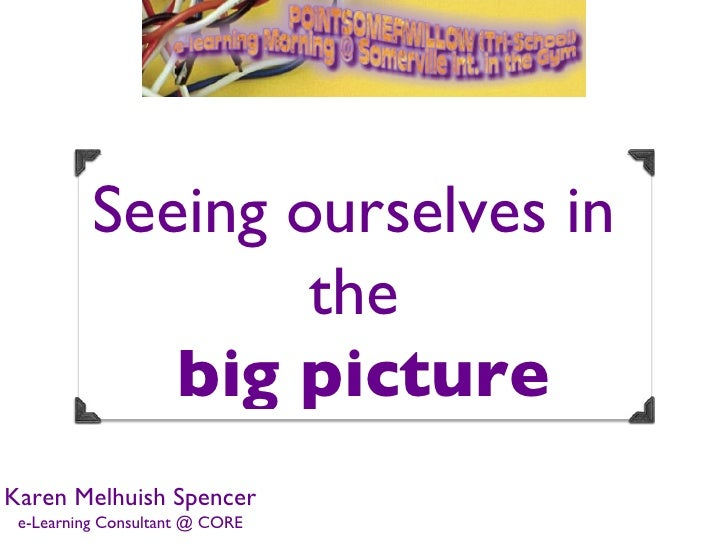 Seeing ourselves in                  the             big pictureKaren Melhuish Spencer e-Learning Consultant @ CORE