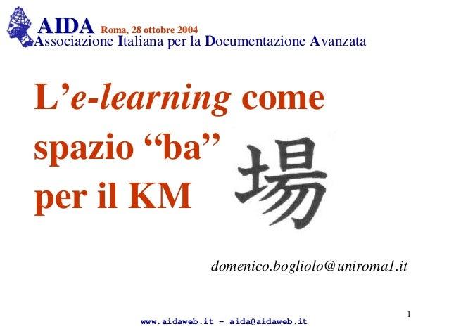 AIDAAIDA Roma, 28 ottobre 2004Roma, 28 ottobre 2004 Associazione Italiana per la Documentazione Avanzata L'e-learning come...