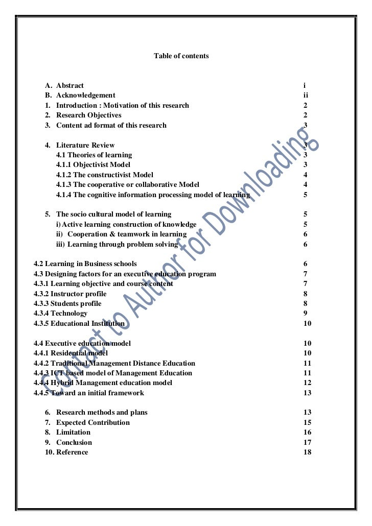 Contents of an abstract of a research paper