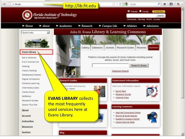 E-LEARN: The Evans Library Website Overview