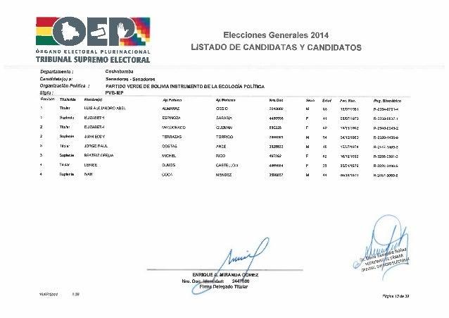 Elecciones 2014 partido verde por bolivia   lista cochabamba