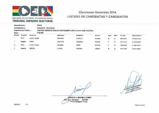 Elecciones 2014 partido verde por bolivia   lista pando
