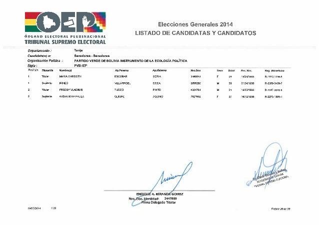 Elecciones 2014 partido verde por bolivia   lista tarija
