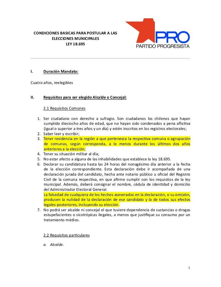 CONDICIONES BASICAS PARA POSTULAR A LAS ELECCIONES MUNICIPALES LEY 18.695