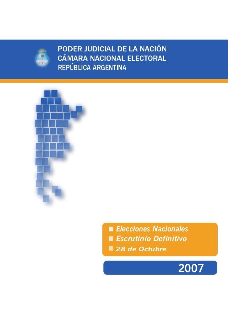 PODER JUDICIAL DE LA NACIÓNCÁMARA NACIONAL ELECTORALREPÚBLICA ARGENTINA                Elecciones Nacionales              ...