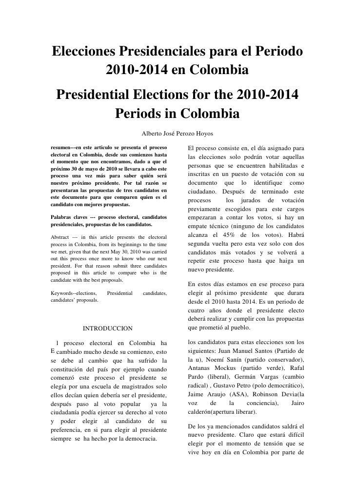Elecciones presidenciales para el periodo 2010