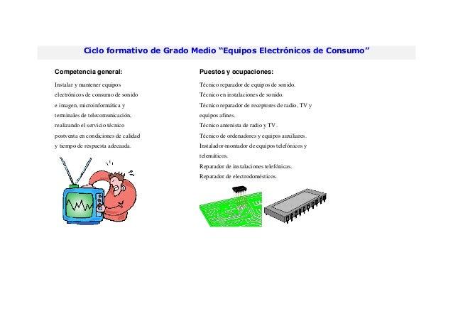 """Ciclo formativo de Grado Medio """"Equipos Electrónicos de Consumo""""Competencia general: Puestos y ocupaciones:Instalar y mant..."""
