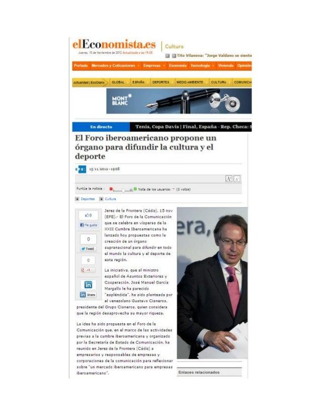 El Foro iberoamericano propone un órgano para difundir la cultura y el deporte
