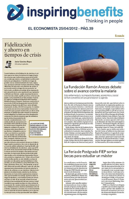 Fidelización y ahorro en tiempos de crisis (por Javier Sánchez Reyes) - El Economista 25.04.2012