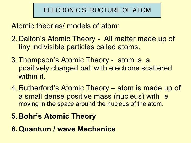 ELECRONIC STRUCTURE OF ATOM <ul><li>Atomic theories/ models of atom: </li></ul><ul><li>Dalton's Atomic Theory -  All matte...