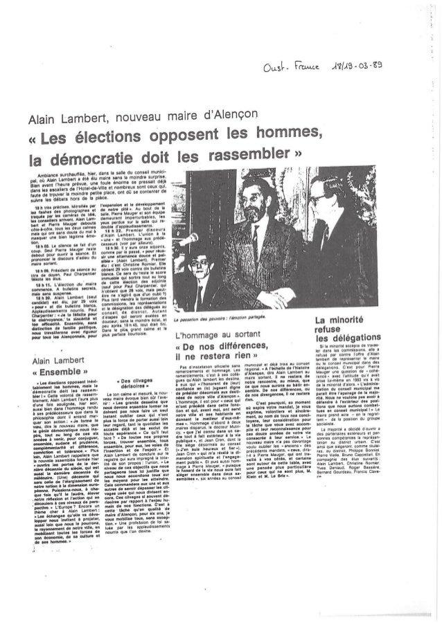 Installation du Conseil Municipal Alençon Mars 1989