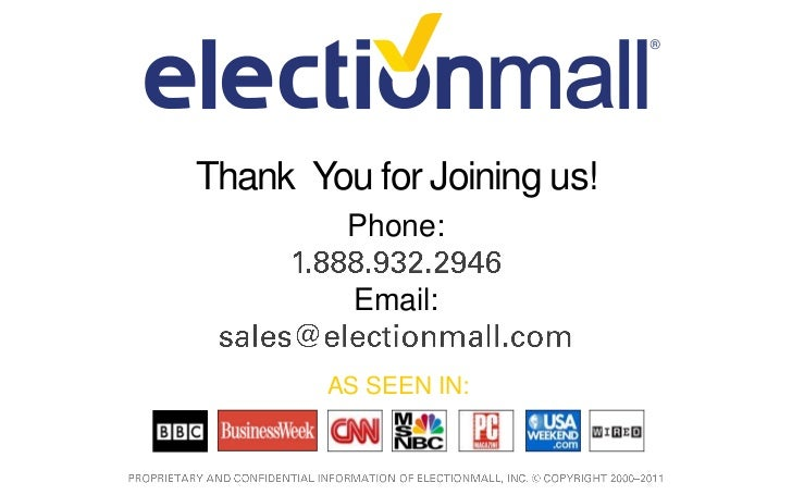 ElectionMall Cloud and Online Fundraising Email