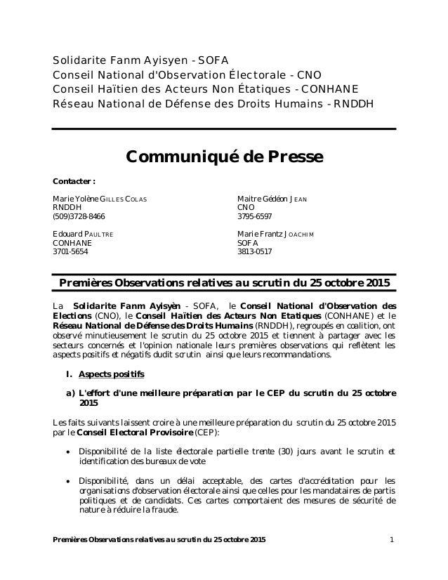 Premières Observations relatives au scrutin du 25 octobre 2015 1 Solidarite Fanm Ayisyen - SOFA Conseil National d'Observa...