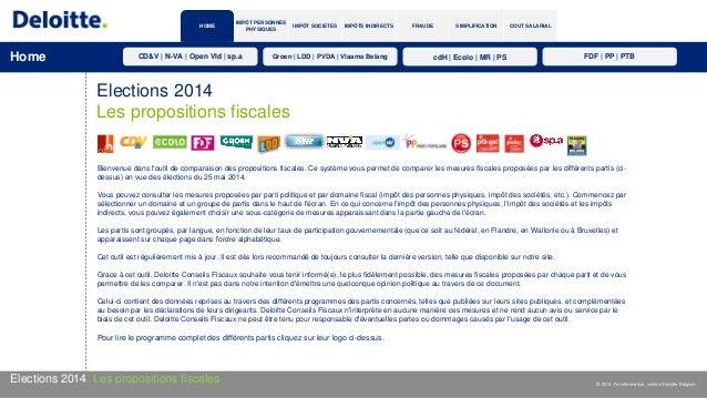 IMPÔT SOCIETES IMPÔTS INDIRECTS FRAUDE SIMPLIFICATION COUT SALARIAL IMPÔT PERSONNES PHYSIQUES Elections 2014 Les propositi...