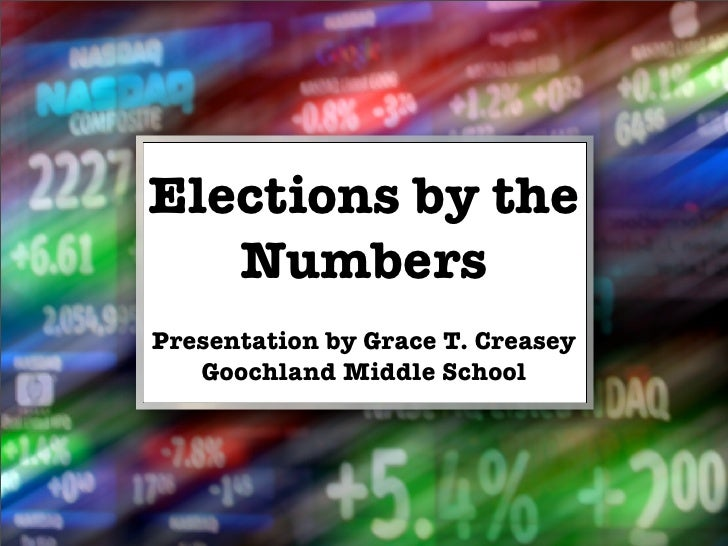 Elections by the    Numbers Presentation by Grace T. Creasey    Goochland Middle School
