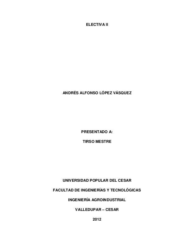 ELECTIVA II  ANDRÉS ALFONSO LÓPEZ VÁSQUEZ  PRESENTADO A: TIRSO MESTRE  UNIVERSIDAD POPULAR DEL CESAR FACULTAD DE INGENIERÍ...