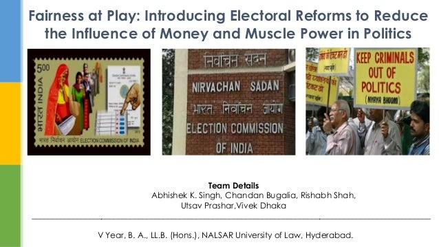 Fairness at Play: Introducing Electoral Reforms to Reduce the Influence of Money and Muscle Power in Politics Team Details...