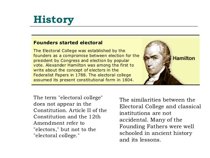 the history of the electoral college politics essay Assess the value of an individual citizen's vote under the electoral college systemwhy does the us still use the electoral college for presidential elections todayutilize the required readings, academic websites, and the gcu library as resources for this assignmentprepare this assignment according to the apa guidelines found in the apa.