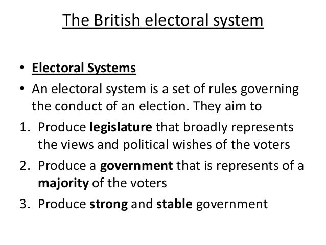 The British electoral system • Electoral Systems • An electoral system is a set of rules governing the conduct of an elect...