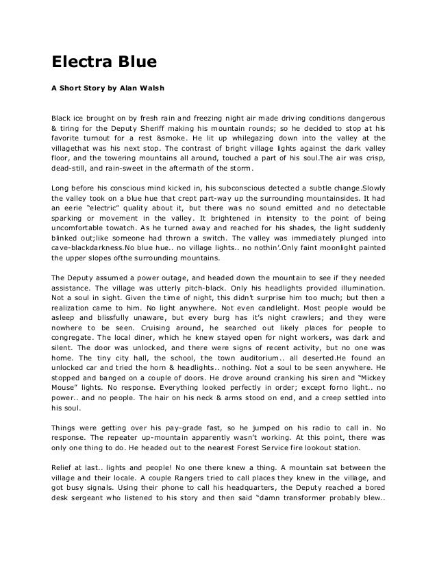 Electra Blue - A Short Story By Alan Walsh