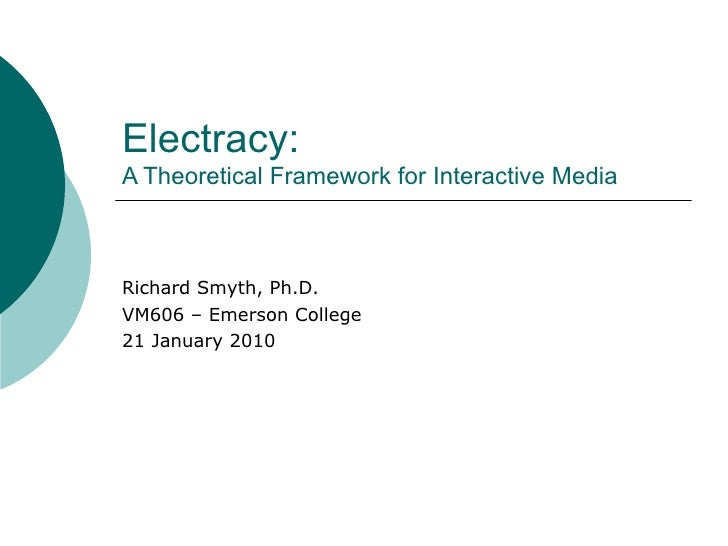 Electracy:  A Theoretical Framework for Interactive Media Richard Smyth, Ph.D. VM606 – Emerson College 21 January 2010