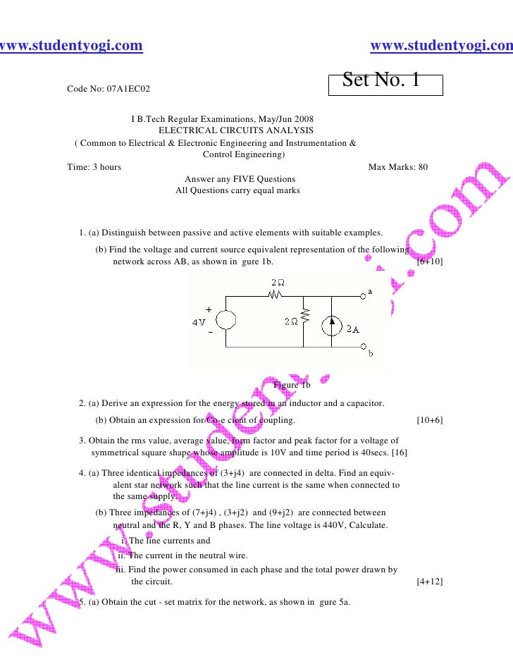 Electrical Circuits Analysis Jntu Model Paper{Www.Studentyogi.Com}
