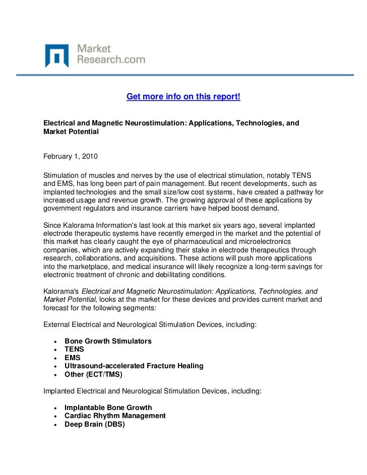 Get more info on this report!Electrical and Magnetic Neurostimulation: Applications, Technolog...