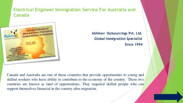 Electrical Engineer Immigration Service For Australia and  Canada  Abhinav Outsourcings Pvt. Ltd.  Global Immigration Spec...