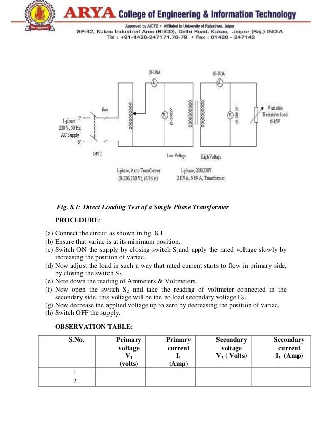 testing of single phase transformer pdf