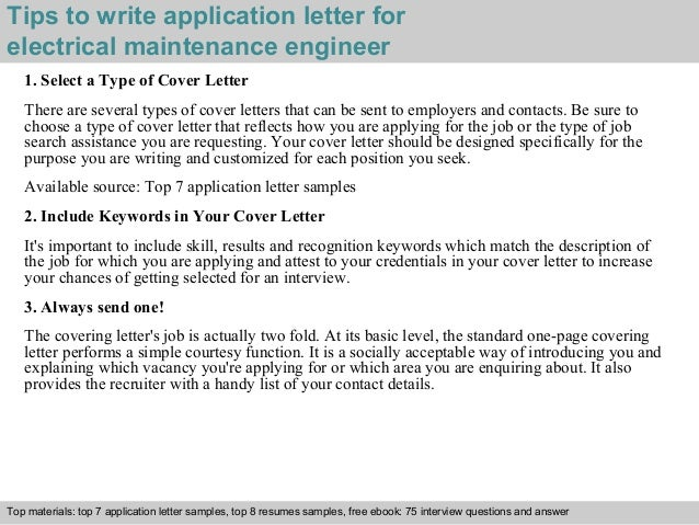 how to write a cover letter for electrician apprenticeship - electrical maintenance engineer application letter