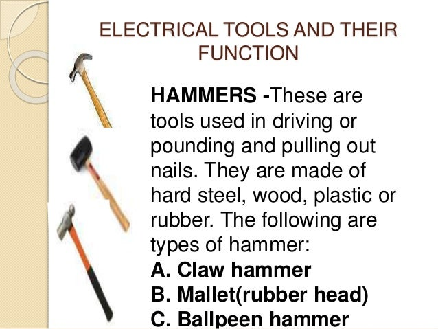 Electrical Tools And Equipment With Name