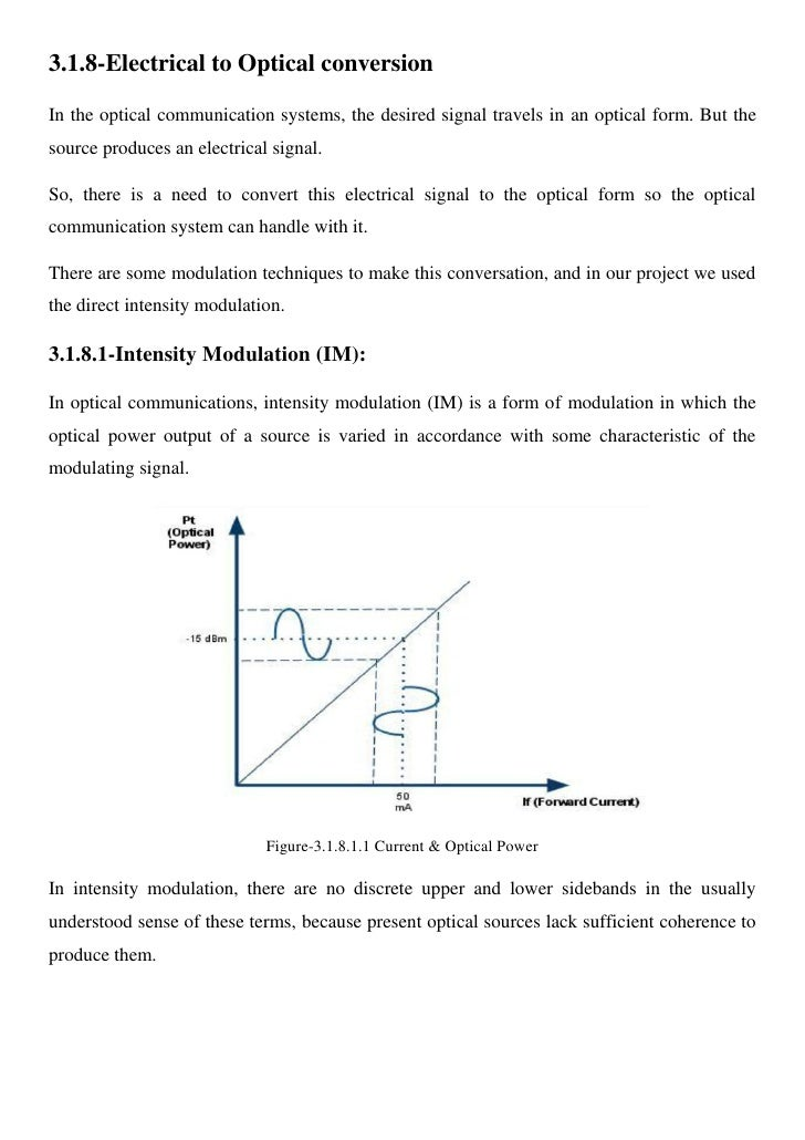 3.1.8-Electrical to Optical conversion  In the optical communication systems, the desired signal travels in an optical for...