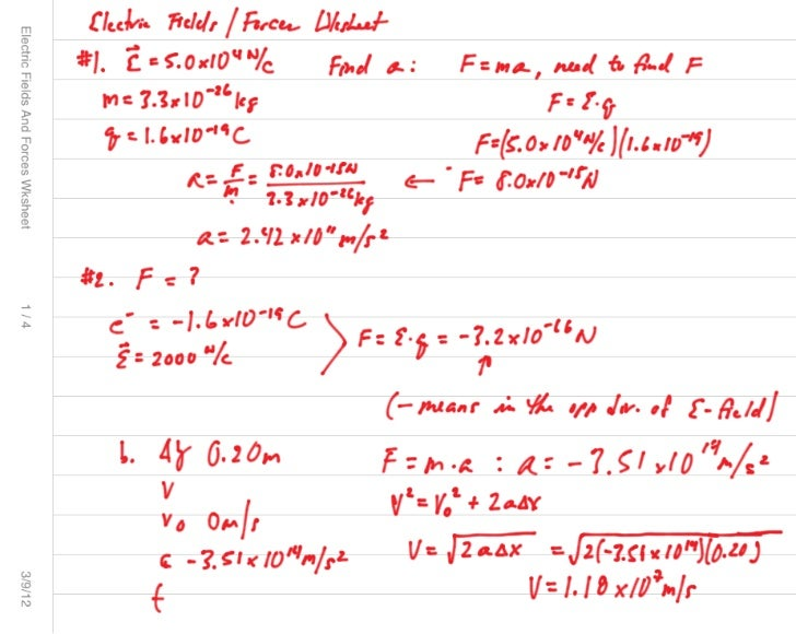 Electric fields and forces wksht