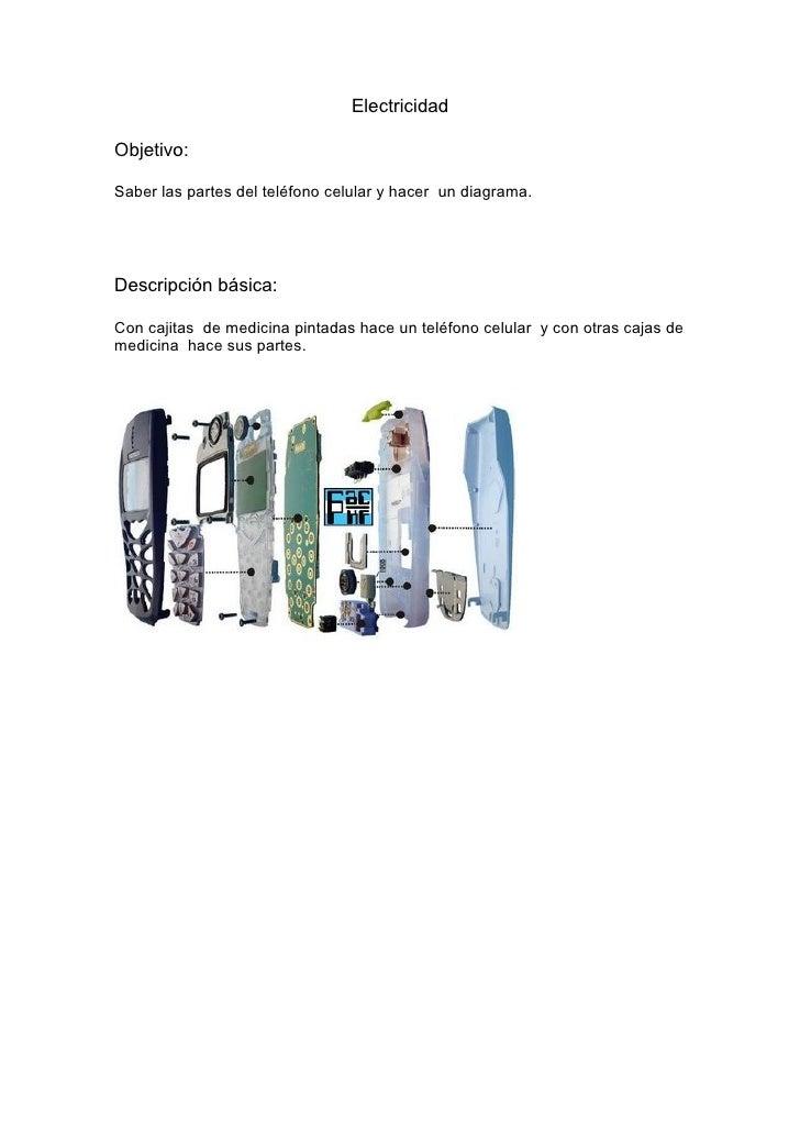 Electricidad  Objetivo:  Saber las partes del teléfono celular y hacer un diagrama.     Descripción básica:  Con cajitas d...