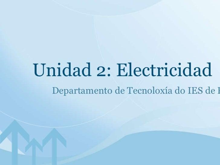 Unidad 2: Electricidad Departamento de Tecnoloxía do IES de Pastoriza