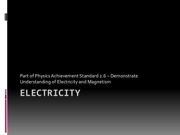 Part of Physics Achievement Standard 2.6 – DemonstrateUnderstanding of Electricity and MagnetismELECTRICITY