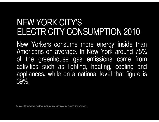 NEW YORK CITY'S ELECTRICITY CONSUMPTION 2010 New Yorkers consume more energy inside than Americans on average. In New York...
