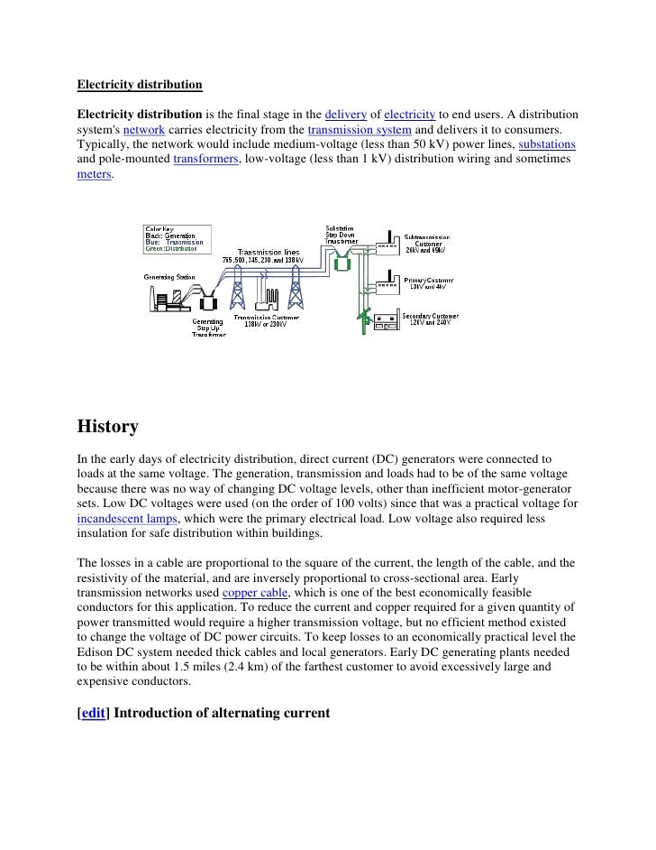 Electricity distributionElectricity distribution is the final stage in the delivery of electricity to end users. A distrib...