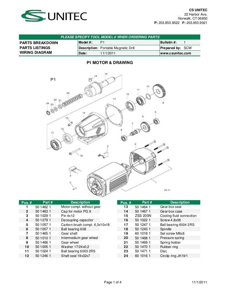 CS Unitec Electric Magnetic Drills Schematic: P1