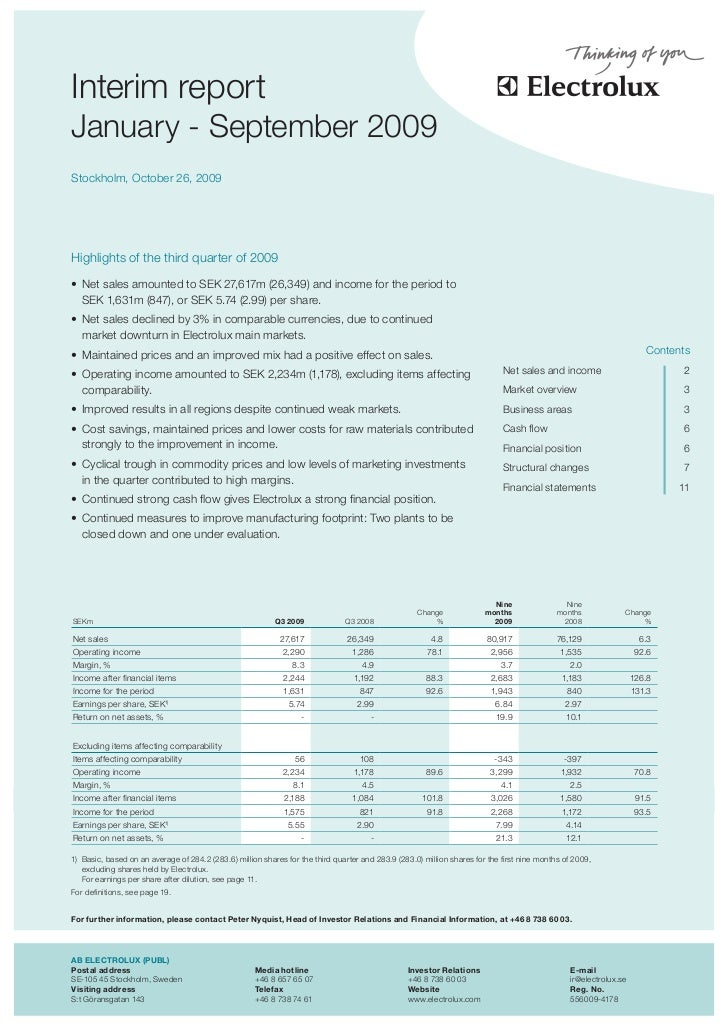 theas     Interim report January - September 2009 Stockholm, October 26, 2009     Highlights of the third quarter of 2009 ...