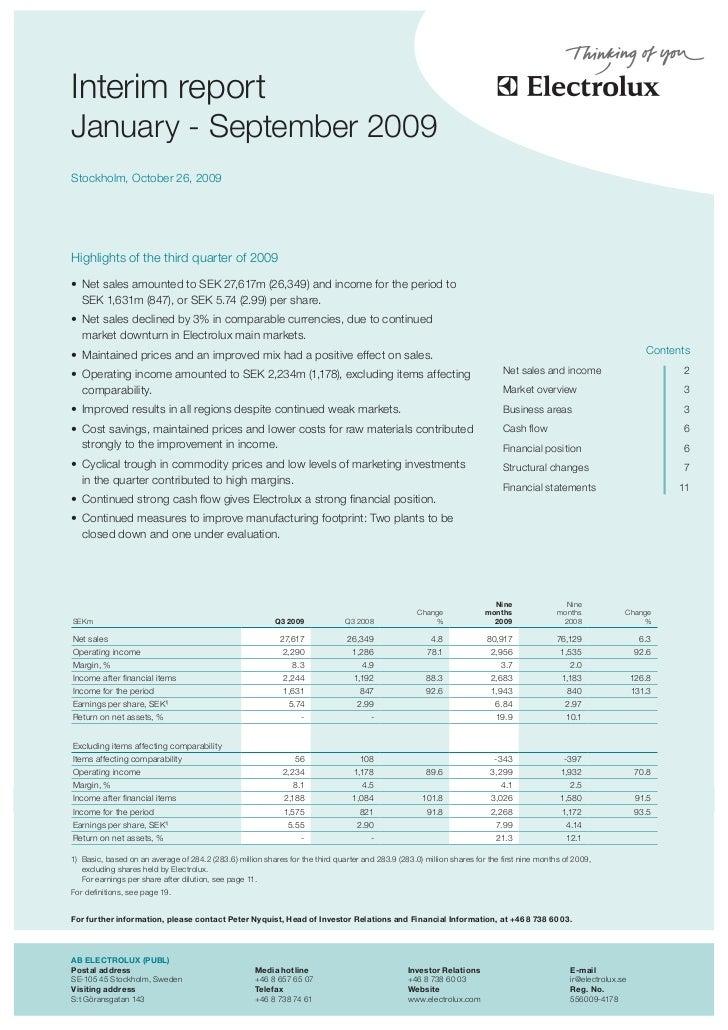 Electrolux Interim Report Q3 2009