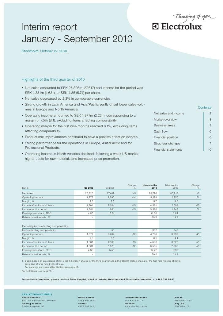 Electrolux Interim Report Q3 2010