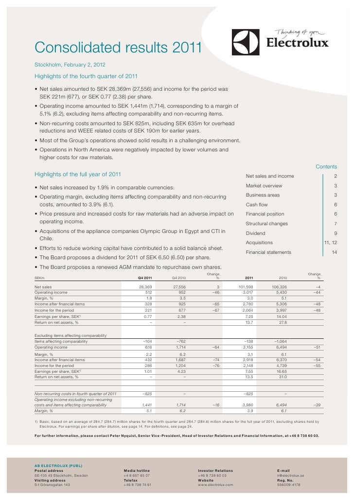 ,costConsolidated results 2011Stockholm, February 2, 2012Highlights of the fourth quarter of 2011• Net sales amounted to ...
